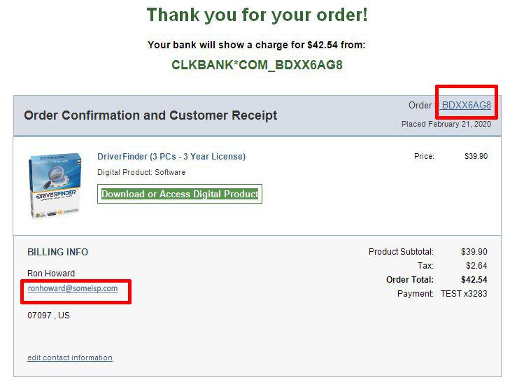 ClickBank Receipt Example