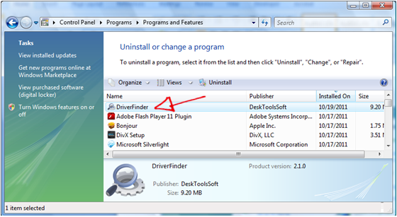 Start DriverFinder Uninstall